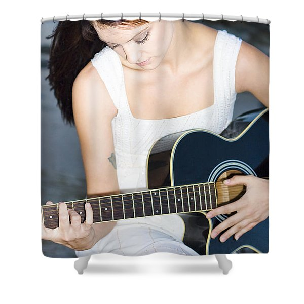 Playing Guitar Shower Curtain