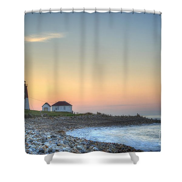Point Judith Lighthouse Shower Curtain
