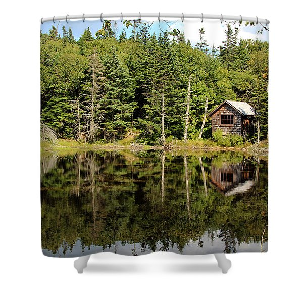 Shower Curtain featuring the photograph Pond Along The At by Jemmy Archer
