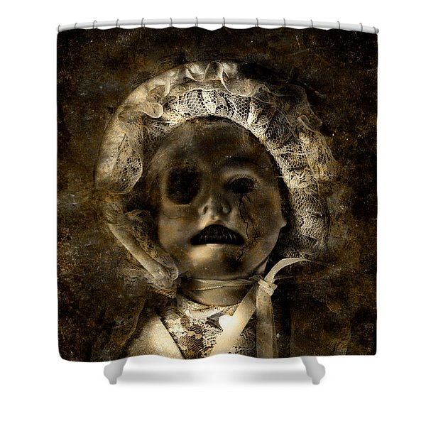 Porcelain Doll Crying Tears Of Cracks Shower Curtain