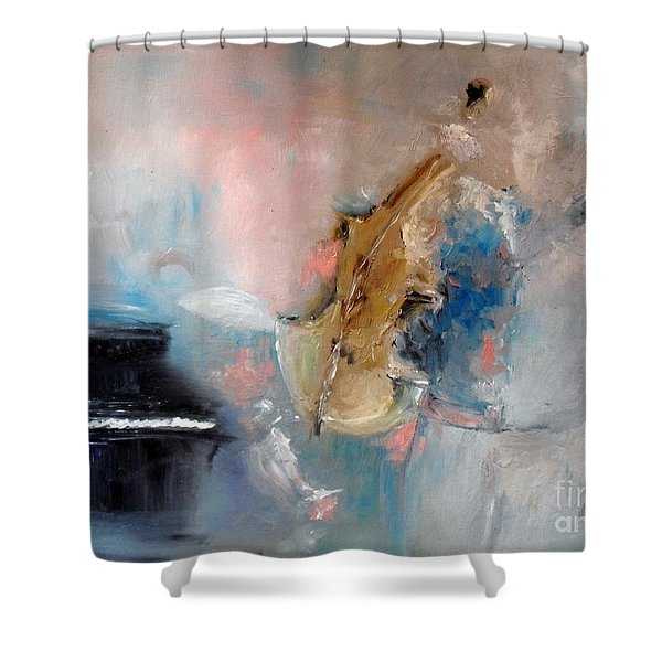 Shower Curtain featuring the painting Practice by Laurie Lundquist
