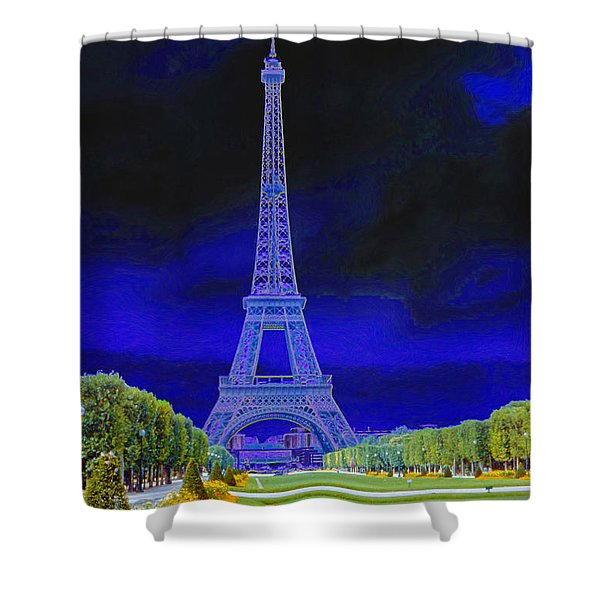Purple Eiffel Shower Curtain
