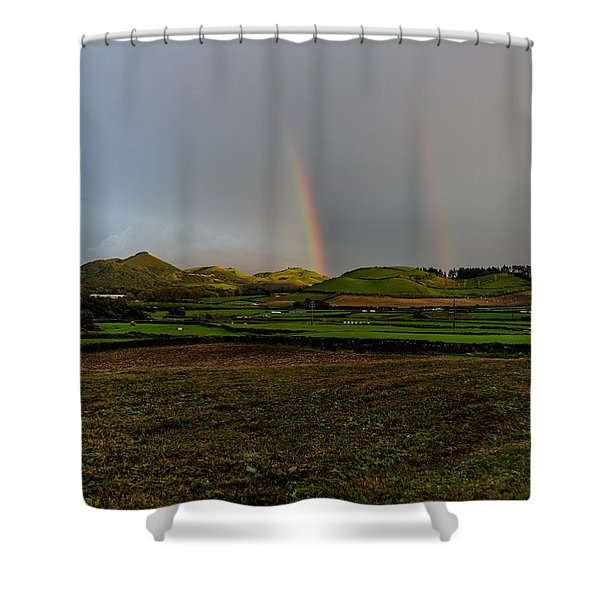 Rainbows Over The Mountain Shower Curtain