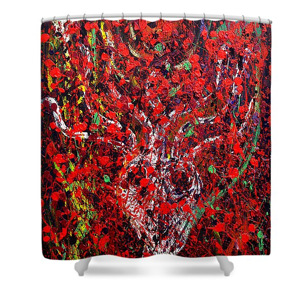 Recurring Face Shower Curtain