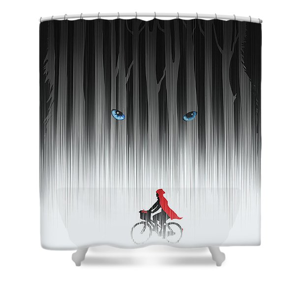 Shower Curtain featuring the painting Red Riding Hood by Sassan Filsoof