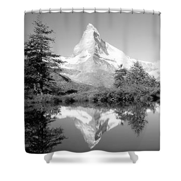Reflection Of Trees And Mountain Shower Curtain