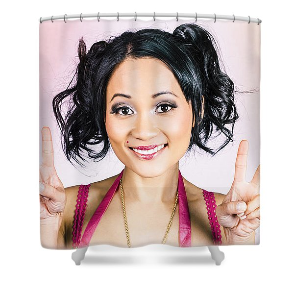 Retro Asian Girl Gesturing Peace Love And Hope Shower Curtain