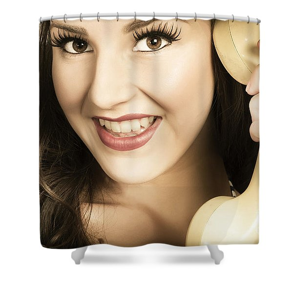 Retro Pinup Model In Gossip On Old Telephone Shower Curtain