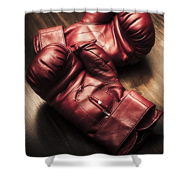 Retro Red Boxing Gloves On Wooden Training Bench Shower Curtain