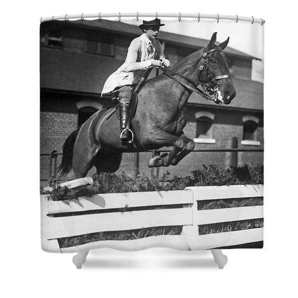 Rider Jumps At Horse Show Shower Curtain