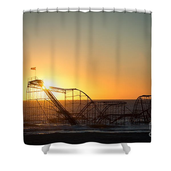Roller Coaster Sunrise Shower Curtain