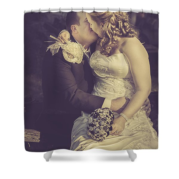 Romantic Bride And Groom Kissing Outdoors Shower Curtain