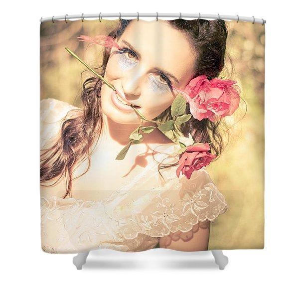 Romantic Rose Woman Shower Curtain