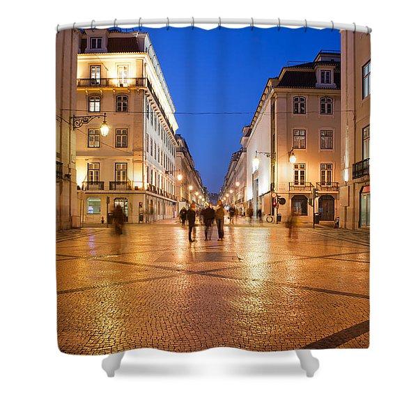 Rua Augusta Street At Night In Lisbon Shower Curtain