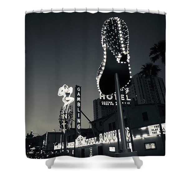 Ruby Slipper Neon Sign Lit Up At Dusk Shower Curtain