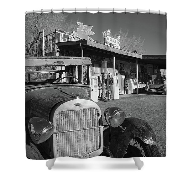 Rusty Car At Old Route 66 Visitor Shower Curtain