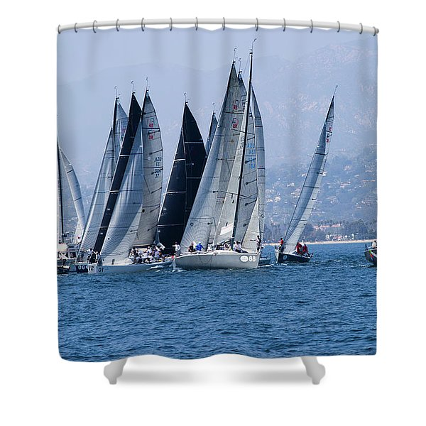 Sailboat Race In The Pacific Ocean Shower Curtain