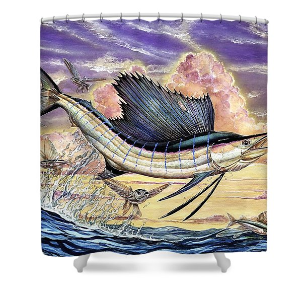 Sailfish And Flying Fish In The Sunset Shower Curtain