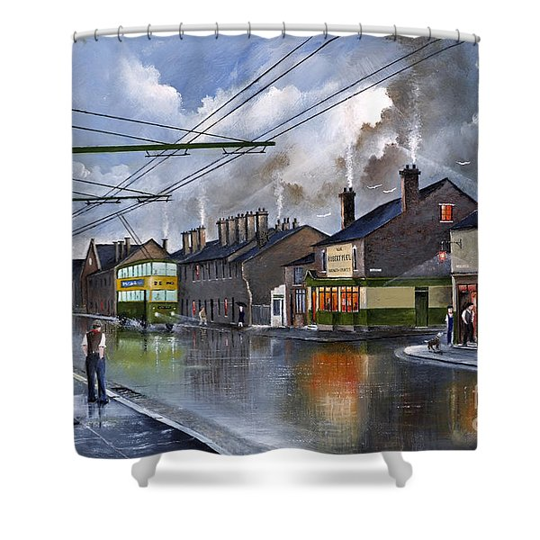 Shower Curtain featuring the painting Salop Street Dudley C 1950 by Ken Wood