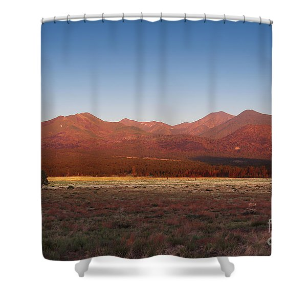 Shower Curtain featuring the photograph San Francisco Peaks Sunrise by Jemmy Archer