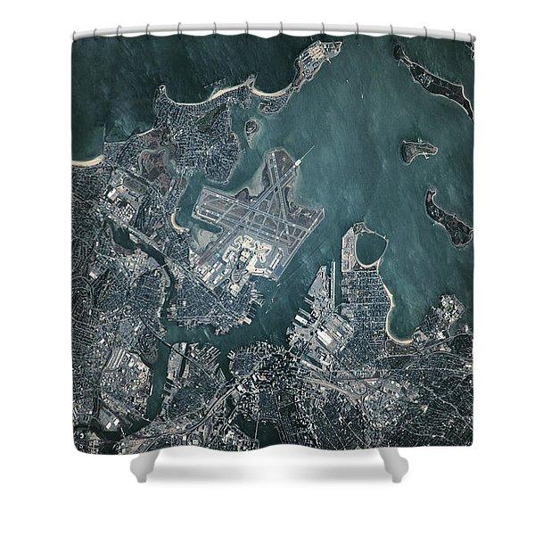 Satellite View Of Boston Shower Curtain