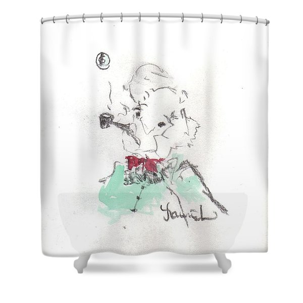 Shower Curtain featuring the mixed media Scrooge by Laurie Lundquist
