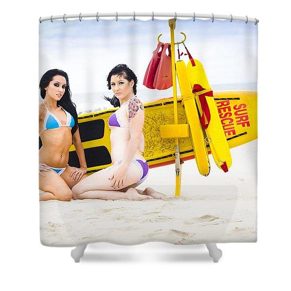 Sexy Lifesaver Beach Patrol Shower Curtain