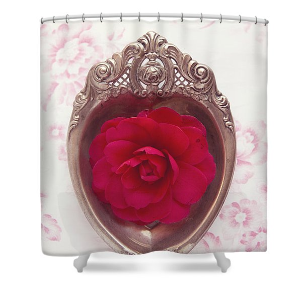 Silver Heart - Red Camellia Shower Curtain