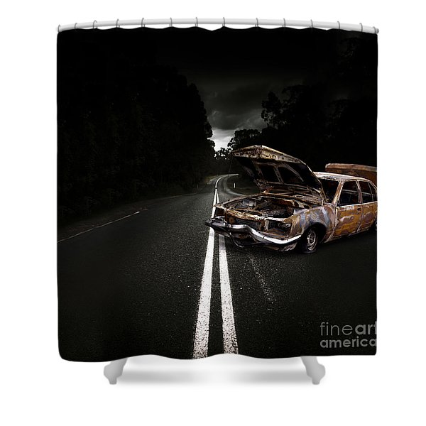 Smashed Up Car Wreck Shower Curtain