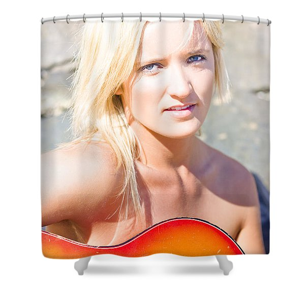 Smiling Female Guitarist Shower Curtain