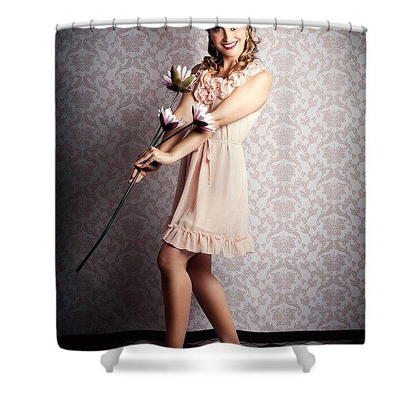 Smiling Retro Floral Girl In Elegant Pink Fashion Shower Curtain