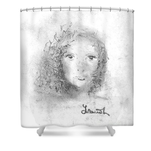 Shower Curtain featuring the drawing Something About Mary by Laurie Lundquist