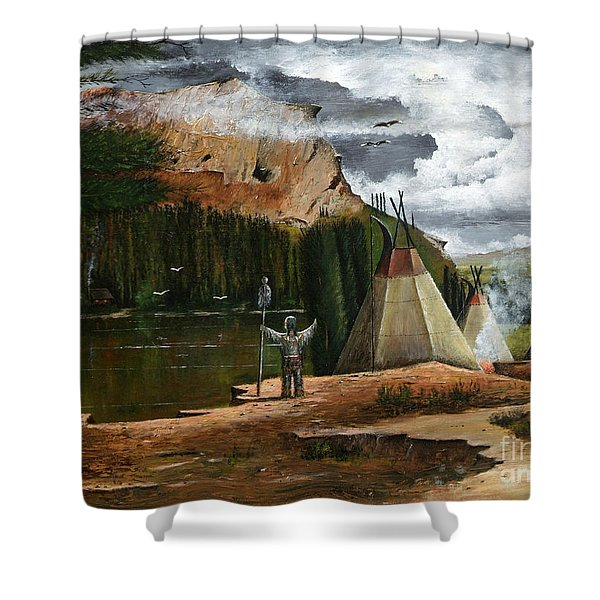 Shower Curtain featuring the painting Spiritual Home by Ken Wood