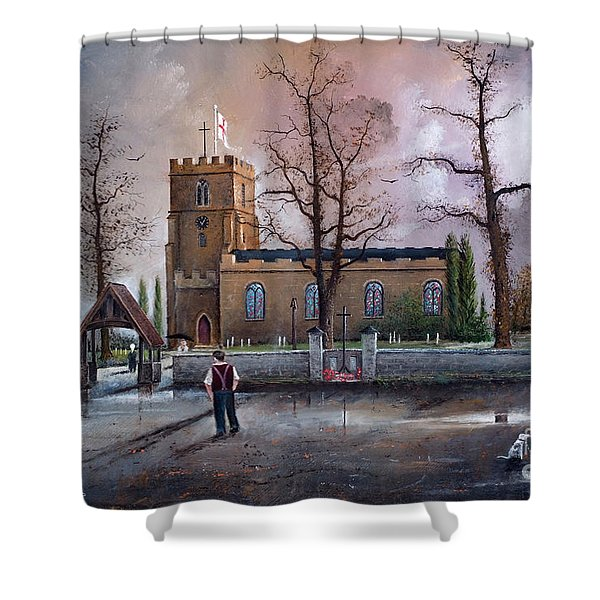Shower Curtain featuring the painting St Marys Church - Kingswinford by Ken Wood