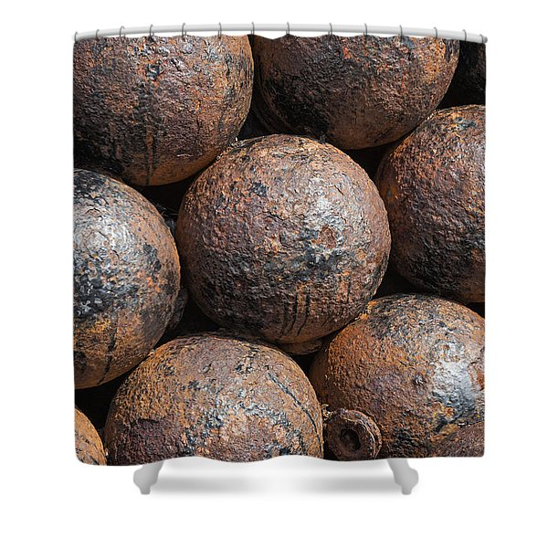 Shower Curtain featuring the photograph Stack Of Cannon Balls At Castillo San Felipe Del Morro by Bryan Mullennix