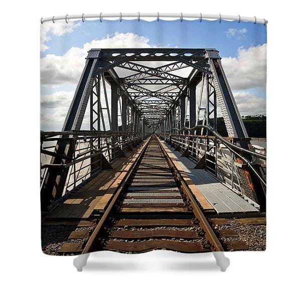 Steel Railway Bridge Over The River Shower Curtain