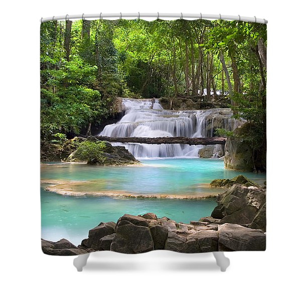Stream With Waterfall In Tropical Forest Shower Curtain