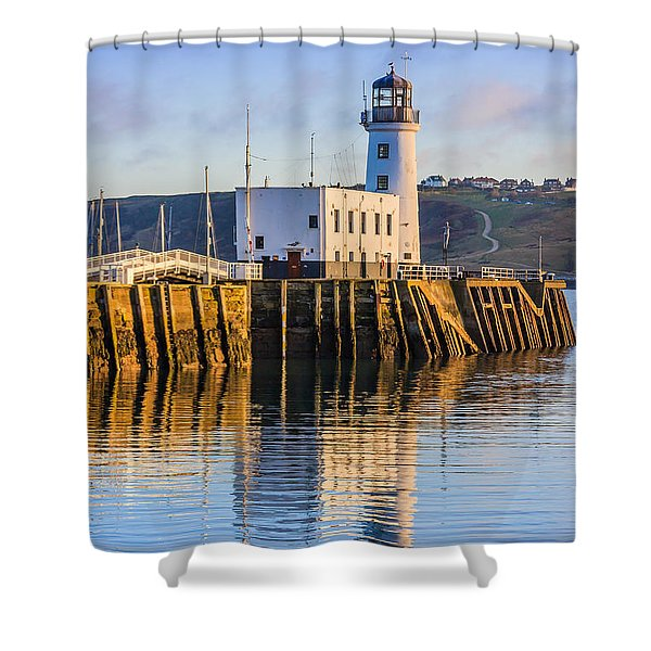 Sunset Over Scarborough Lighthouse Shower Curtain