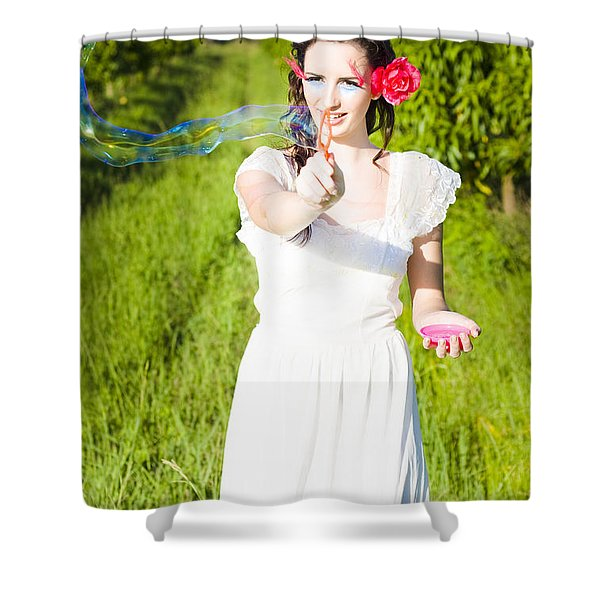 Teenager Playing With Bubbles Shower Curtain
