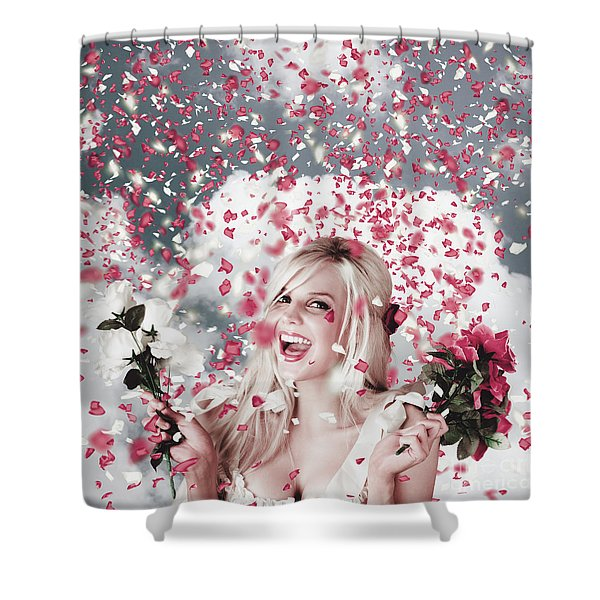 Tender Woman With Flowers. Romantic Celebration Shower Curtain