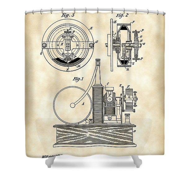 Tesla Electric Circuit Controller Patent 1897 - Vintage Shower Curtain