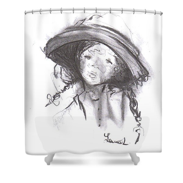Shower Curtain featuring the drawing The Bonnet by Laurie Lundquist