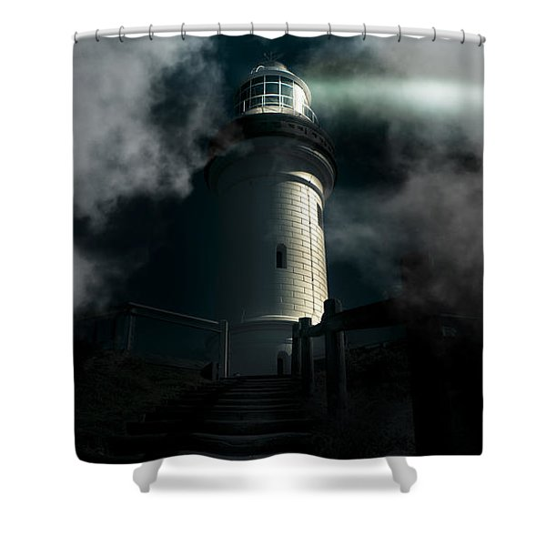 The Dark Atmospheric Lighthouse Shower Curtain