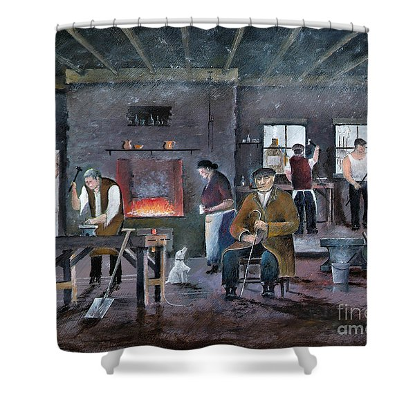 Shower Curtain featuring the painting The Gaffer by Ken Wood