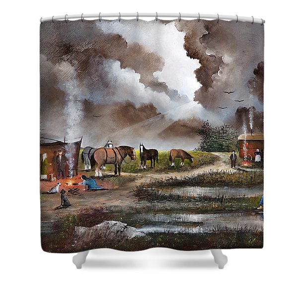 Shower Curtain featuring the painting The Horse Traders by Ken Wood