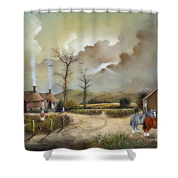Shower Curtain featuring the painting The Smithy by Ken Wood