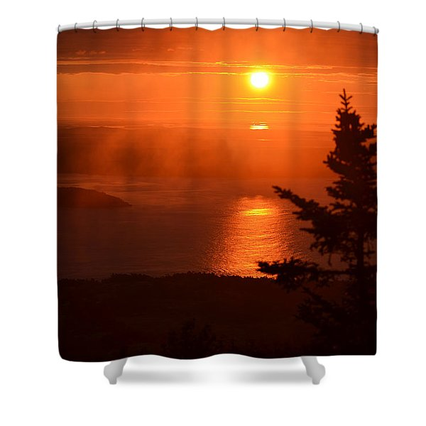 The Sunrise From Cadillac Mountain In Acadia National Park Shower Curtain