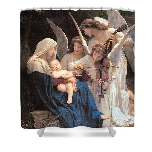 The Virgin With Angels Shower Curtain