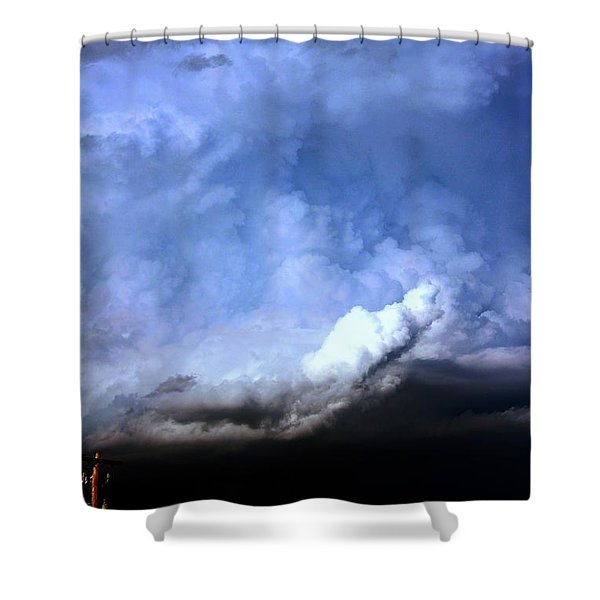 There Be A Storm A Brewin In Nebraska Shower Curtain