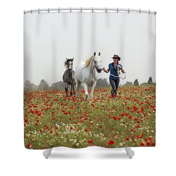 Three At The Poppies' Field... 3 Shower Curtain